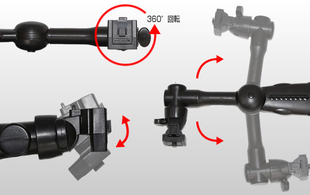 QBG1 設置位置の調整可能 角度調整をする事で好みの位置にモニター等を固定できる。座席間にもモニター等の設置可能。