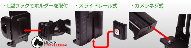 QBG1 選べる取付3タイプ モニター付属のカメラネジ、スライドレール式、L型ホルダー付<br /><span style='font-size:12px;'>※スライドレール式には適合がございます。適合情報は<a href='qg.php'>QG3のページ</a>をご覧下さい。</span>