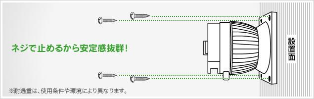 QBG7 直付けフックでガッチリ取り付け 設置面に直接取り付ける為、ガッチリ固定できます。