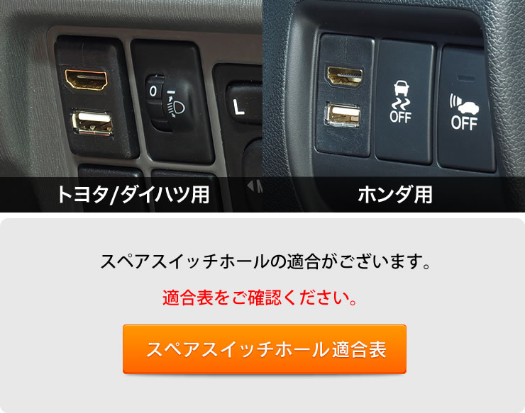 USB10/11 トヨタ/ダイハツ用、ホンダ用をラインナップ メーカーによってスペアスイッチホールのサイズが異なるのでメーカーに合わせて設計しました。