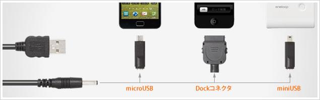 USB4 幅広いスマートフォン、タブレット、携帯電話に対応 miniUSB、microUSB、Dockコネクタを差し替えることで、端末に接続できます。
